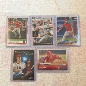 Lot of 5 Los Angeles Angels Topps Baseball Cards